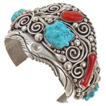 Turquoise Coral Handmade Navajo Cuff Bracelet 30120