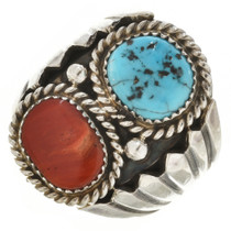 Turquoise Coral Sterling Silver Ring 30124