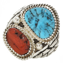 Navajo Silver Coral Mens Turquoise Ring 30126