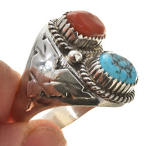 Sterling Silver Thunderbird Shank Turquoise Ring 30127