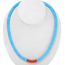 Native American Turquoise Heishi Coral Necklace 30162