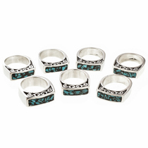 Native American Turquoise Chip Silver Ring 30171