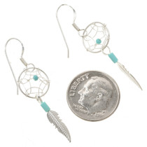 Turquoise Silver Earrings French Hooks 30173