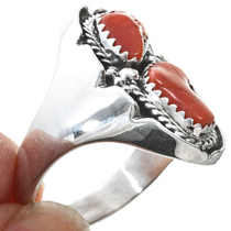 Silver Coral Native American Ring 30194