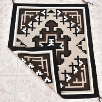 Vintage Two Grey Hills Wool Navajo Rug 30202
