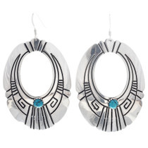 Native American Silver Turquoise Earrings 30209