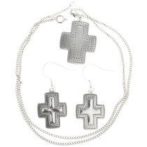 Sterling Silver Cross Pendant Set 30242