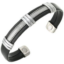 Silver Leather Magnetic Cuff Bracelet 30250