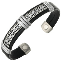Silver Leather Magnetic Cuff Bracelet 30252