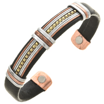 Silver Copper Black Leather Bracelet 30254