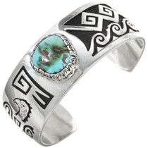 Genuine Royston Turquoise Silver Overlay Cuff 30306