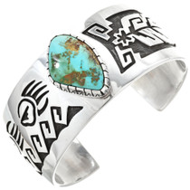 Genuine Royston Turquoise Overlaid Silver Cuff