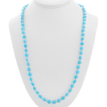 Turquoise Silver Bead Navajo Necklace 30332
