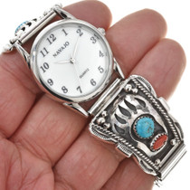 Navajo Silver Bear Paw Mens Watch 30401