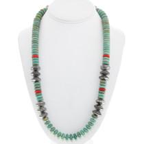 Kingman Turquoise Coral Navajo Necklace 30408