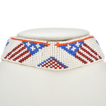 Vintage Beaded Buckskin Indian Choker Patriotic Eagle Flag Pattern 30440