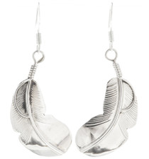 Silver Native American Feather Earrings 30458