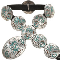 Old Pawn Inlaid Kokopelli Concho Belt 0112