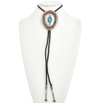 Hammered Silver Turquoise Coral Bolo Tie 30475