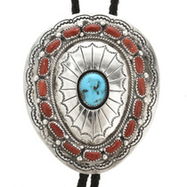 Old Pawn Turquoise Coral Bolo Tie 30475