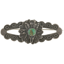 Old Pawn Turquoise Coin Silver Brooch 2200