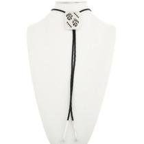 Overlaid Sterling Bear Paw Bolo Tie Navajo Handmade 30496