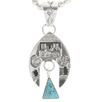 Turquoise Silver Navajo Indian Pendant 30514