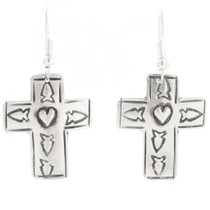 Navajo Tribe Indian Silver Cross Earrings 30515