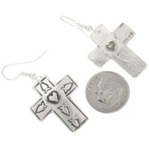 Hand Made Native American Sterling Silver Earrings 30515