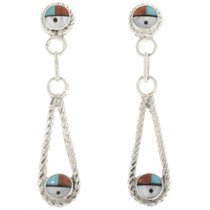 Zuni Sunface Turquoise Post Dangle Earrings 30519