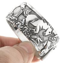 Overlaid Silver Horse Cuff Bracelet 30526