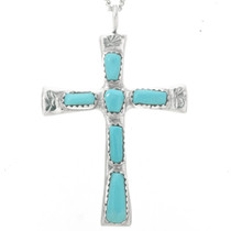 Genuine Turquoise Silver Cross Pendant 30530