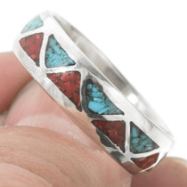 Silver Turquoise Coral Navajo Wedding Band Ring 30536