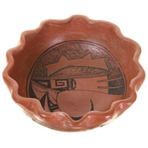 Native American Pottery Eagle Rain Patterns Fluted Rim 30548
