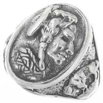 Indian Head Buffalo Sterling Silver Mens Ring 30563