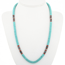 Hematite Coral Navajo Turquoise Necklace 30586