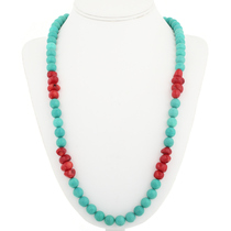 Navajo Turquoise Coral Necklace 30591