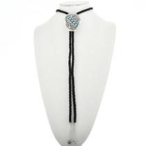 Navajo Silver Nugget Turquoise Bolo Tie