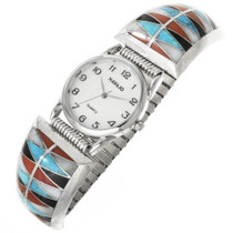 Vintage Zuni Turquoise Inlay Watch 30604