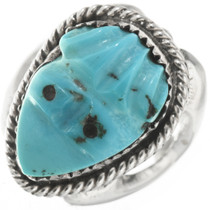 Vintage Carved Turquoise Frog Ring 30616