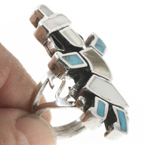Sterling Silver Vintage Zuni Inlay Ring 30617