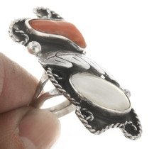 Southwestern Sterling Silver Coral Ring 30620