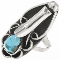 Old Pawn Navajo Squash Blossom Turquoise Ring 30621