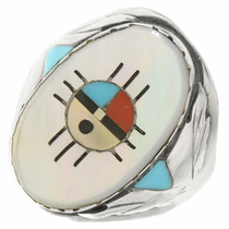 Old Pawn Zuni Inlaid Mens Ring 30626