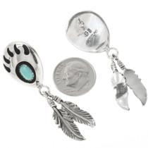 Sterling Silver Bear Paw Turquoise Earrings 30637