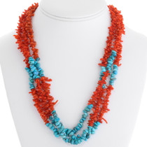 Navajo Coral Turquoise Bead Necklace 30674