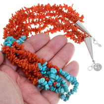 Beaded Nugget Coral Turquoise Necklace 30674