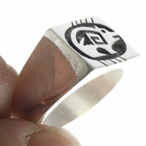 Sterling Silver Overlay Bear Hopi Ring 30681