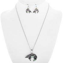 Native American Inlaid Opal Bear Pendant Set 30698