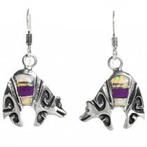 Sterling Silver Opal Silver Bear Earrings 30698